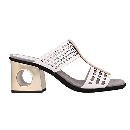 Hispanitas Pala Calada Negro tacón Plata Sandalia para Mujer