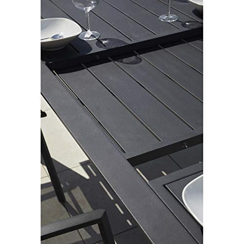 Ozalide Bilbao - Mesa de jardín extensible para 12 personas, color negro