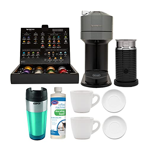 Nespresso Vertuo Next Coffee and Espresso Machine with Aeroccino, 2 Cup and Saucer Sets, Descaling Liquid and Tumbler Bundle (5 Items)