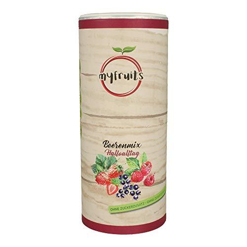 myfruits® Beerenmix - Mischung aus gefriergetrockneten Früchten - Ohne Zucker - (Erdbeerscheiben, Himbeeren, schwarze Johannisbeeren, 300g)