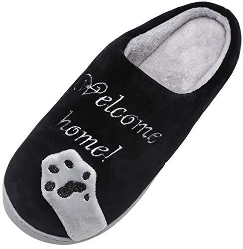 Mishansha Mujer Zapatillas de Casa Hombre Zapatillas de Estar de Invierno Cálido Felpa Dibujos Animados Gato Antideslizante Pantuflas, Cat-Negro, 39/40 EU=40/41 CN