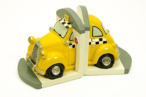CAPRILO Figura Infantil Decorativa Sujetalibros Taxi Esculturas Resina. 2 x (12 x 12 x 14 cm.)