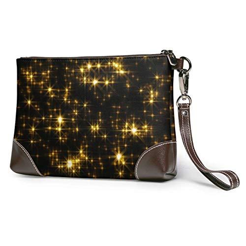 XCNGG Sac à main d'embrayage imprimé papier peint noir et or sac à main en cuir amovible pour femme