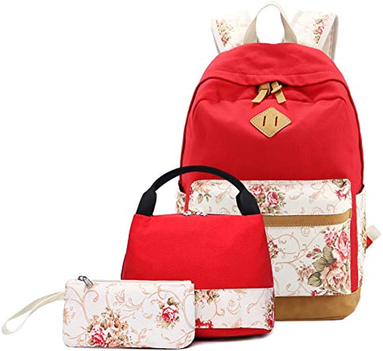 HPADR Kinderrucksack Kartendruck Teens School Rucksack Set Canvas Girls School Bags 3 Stücke rot T45