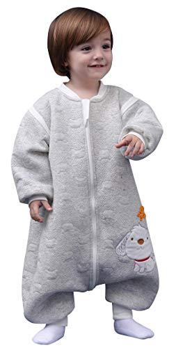 Happy Cherry - Saco de dormir unisex de algodón para bebé, de manga larga, manta de una pieza, de 0 a 5T, Gris, 3-5 Años