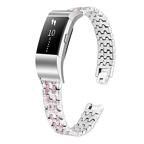 TechCode Remplacement du Bracelet Compatible avec Fitbit Charge 2 Montre, Bling Metal Band de Remplacement Bracelet en Acier Inoxydable Bracelet habillé en Strass 5,0 à 8,6 Pouces (A02)