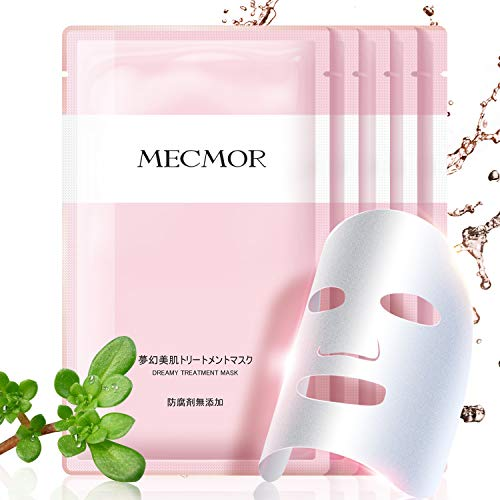 MECMOR Soothing Facial Treatment Mask Vitamin C, Fade Dark Spots Acne Scars Hydrating Moisturizing with Hyaluronic Acid Mask Sheet for Acne Prone Oily Dry Skin, Additive Free