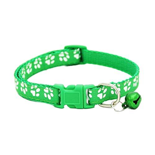 Dswe Parches Campanas Collares con Huella de Hebilla de Color Hebilla de Seguridad sintética para Mascotas Collar Ajustable Suministros para Animales, Verde Fluorescente