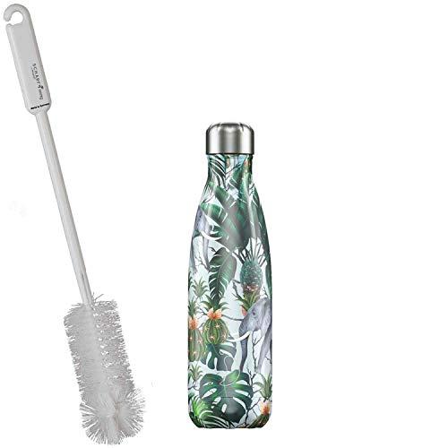 CHILLYs Trinkflasche & Isolierflasche Tropical Elephant Bottle - Edelstahl Thermos Wasserflasche - Flasche hält 24 Std. kalt & 12 Std. heiß + SCHARFsinnig Flaschenbürste