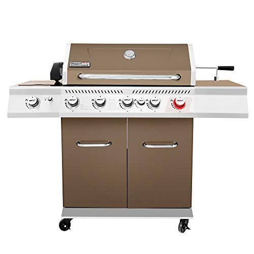 Royal Gourmet GA5403C 5-Burner BBQ Cabinet Style Propane Gas Grill with Rotisserie Kit, Sear Burner, Infrared Rear Burner and Side Burner, 74,000 BTU Patio Picnic Backyard Gas Grill, Coffee Grills Propane