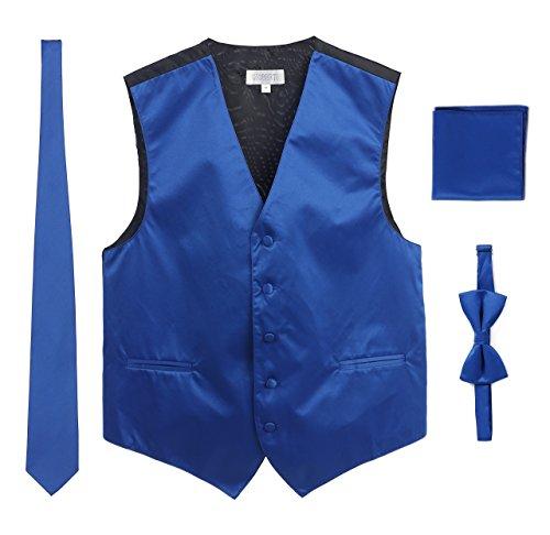 Men's Formal 4pc Satin Vest Necktie Bowtie and Pocket Square, Royal Blue, Large