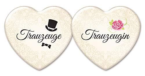 stylebutton design your own Trauzeugen-Anstecker in Herzform: 2 romantische Buttons für Trauzeugin und Trauzeuge, creme, 58 x 53 mm, als Hochzeit-Accessoire