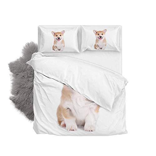 Soft Quilt Bedding Set Cute Puppy Corgi Dog Duvet Cover with Pillowcases Set 2 PCS 155 x 220 CM, Full Size