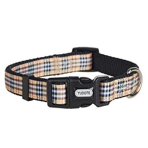 YUDOTE Hundehalsband, verstellbar, Nylon, Größe M, mit Schottenkaro, Begie-Band, für Hunde, Halsumfang: 31–49 cm, Schwarz