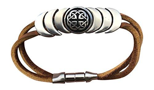 Peace, Love, Strength Celtic Knot Symbol Leather Magnetic Bracelet Eternity Brown Hand Made L Irish Ireland