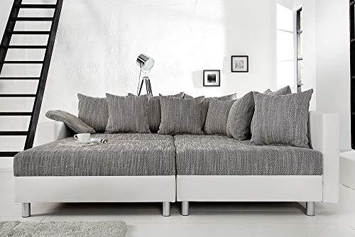 Design Ecksofa mit Hocker LOFT weiss Strukturstoff grau Federkern Sofa OT beidseitig aufbaubar - 7