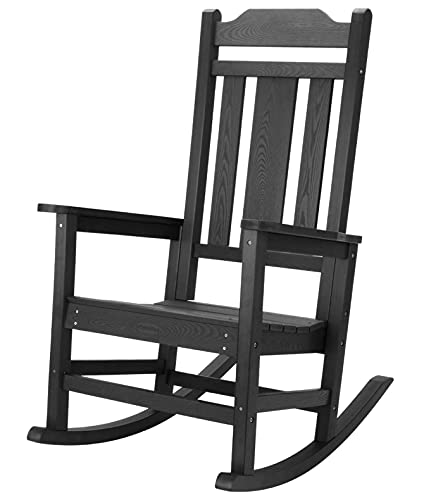 hOmeHua Oversized Rocking Chair, All Weather Resistant Outdoor Indoor Fade-Resistant Patio Rocker Chair,Stable Durable Smooth Rocking, Comfortable Easy to Maintain, Load Bearing 350 lbs - Black