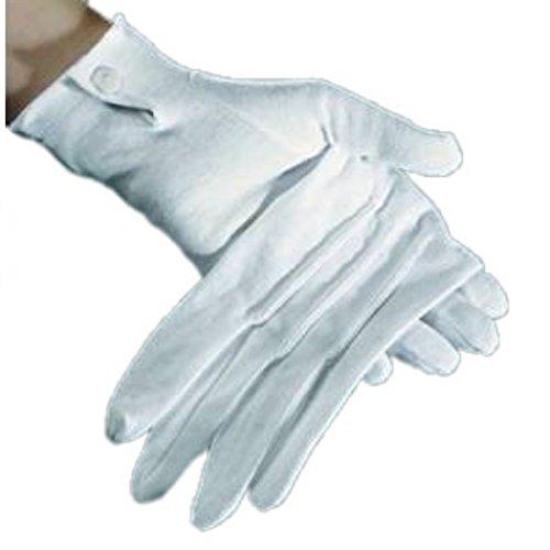 HAAC Handschuhe Baumwollhandschuhe Weiss Baumwolle Herren mit Biesen Größe L weiß