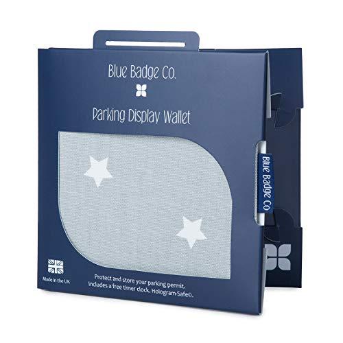 Blauwe Badge Co Gehandicapten Parkeervergunning Houder Portemonnee in Grijs Sterren Stof Cover met Gratis Timer Klok