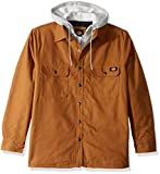 Dickies Men's Relaxed fit Hooded Quilted Shirt Jacket, Brown Duck, L