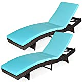 Tangkula Outdoor Folding Chaise Lounge, Rattan Patio Lounge Chair with Removable Thick Cushion, 5 Adjustable Levels, Leisure Reclining Wicker Lounge Chair for Garden, Pool Side, Balcony (2, Turquoise)