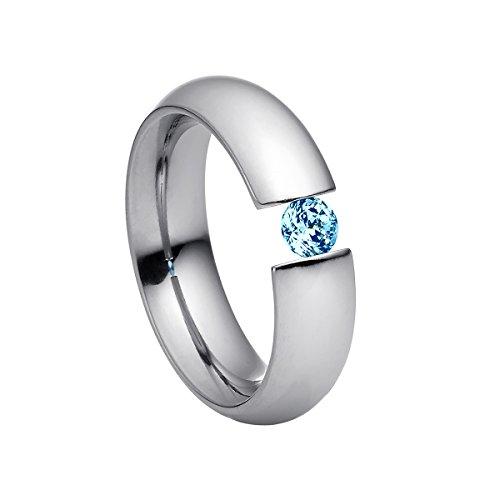 Heideman Ring Damen Intensio aus Edelstahl Silber farbend poliert Damenring für Frauen mit Swarovski Stein Zirkonia blau im Brillant Schliff 4mm