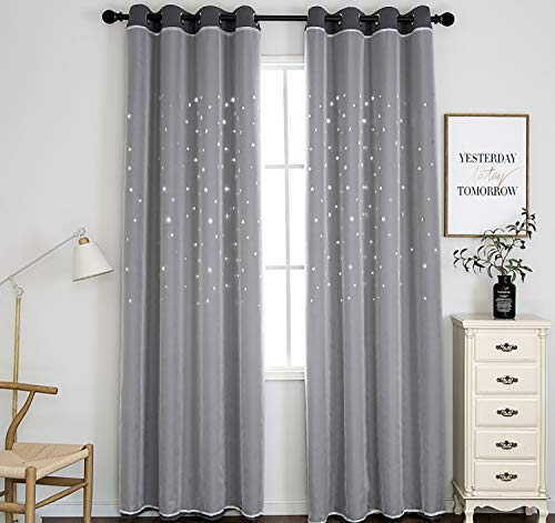 SIMPVALE Blackout Curtain, Star Curtain with Voile Double Layer Star for Kids Bedroom Living Room,1 Pannel (Grey, 140X160cm/55X63inch)