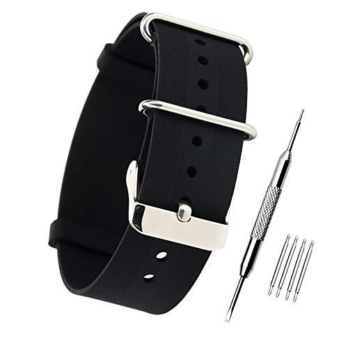 ZHUGE sportivo di modo orologi fasce del silicone sostituzione Polso Impermeabile Rubber Wristband Bracelet Strap Band Nero 18MM