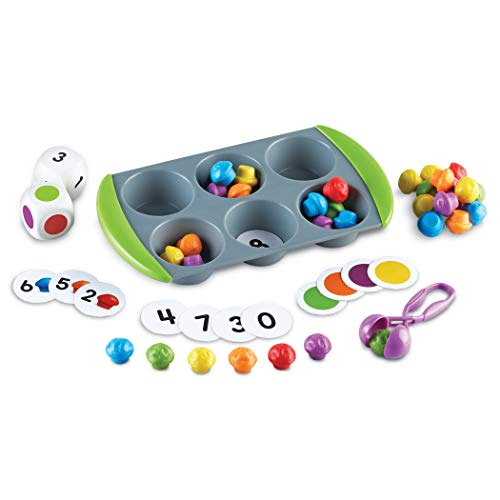 Learning Resources Mini Muffin Match Up Counting Toy Set  Homeschool  Fine Motor Tool  Kids Tweezers  76 Pieces  Easter Basket Stuffers  Ages 3+