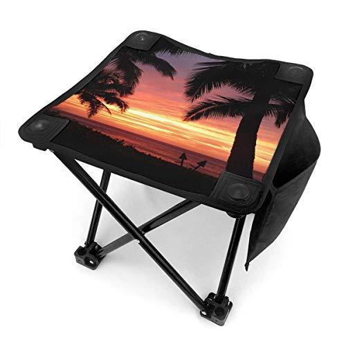 End Nazi Tabouret de Camping chaises Pliantes Tropical Beach Sunset Portable Chair Seat
