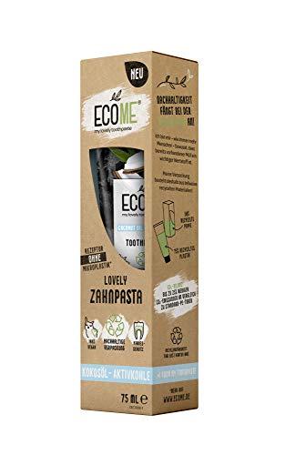 ECOME my lovely toothpaste 'Kokosöl-Aktivkohle', 2 x 75 ml, nachhaltige Zahnpasta für saubere Zähne, frei von Mikroplastik, mit Fluorid, Schutz vor Karies, eco-friendly & vegan