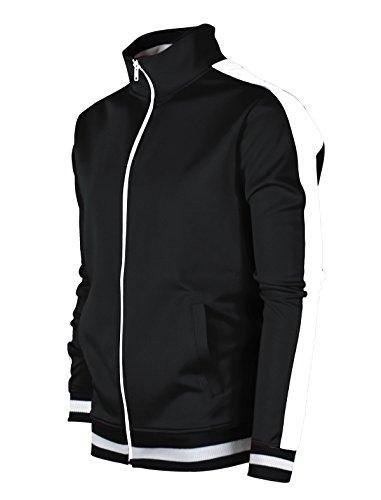 SCREENSHOTBRAND-51700 Mens Urban Hip Hop Premium Track Jacket - Slim Fit Side Taping Basic-Black-Medium