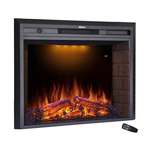 Masarflame 30'' Electric Fireplace Insert, Retro Recessed Fireplace Heater with Fire Cracking Sound, Remote Control & Timer, 750/1500W, Black