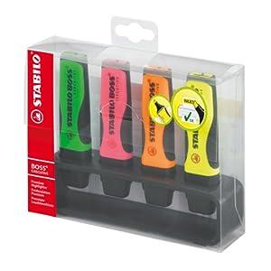 Stabilo BOSS – Rotuladores fluorescentes con soporte (4 colores variados)