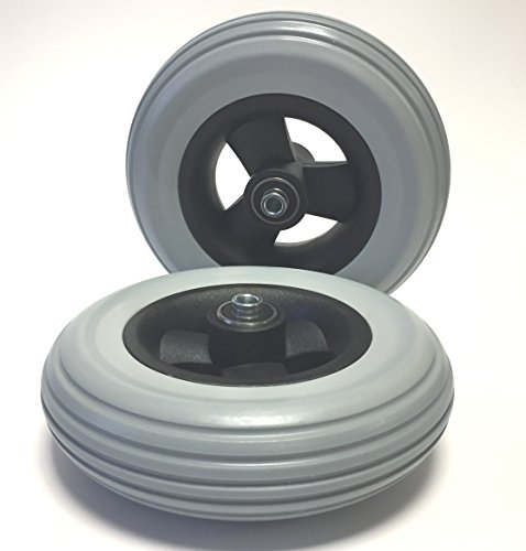 Krypton 2 Stück Rollstuhlreifen pannensicher 7 x 1 3/4 (175x40), grau, Rillenprofil, 100% pannengeschützt, Kompletträder Reifen mit Felge und Rollstuhl Kugellager, Bohrung 8 mm, Nabenlänge 60 mm