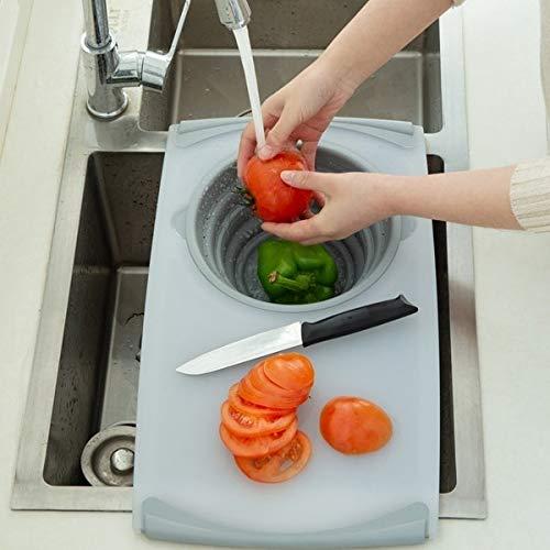 Cesta de drenaje multifunción 3 en 1 para fregadero, tabla de cortar, carne, verduras, frutas, almacenamiento, tabla de cortar, filtro, bloques de corte