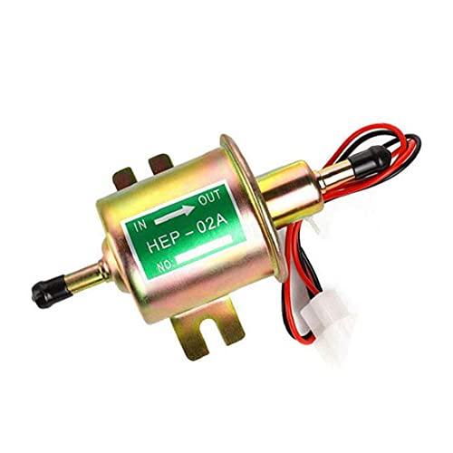 FeelMeet Kraftstoffpumpe für elektronische Kraftstoffförderpumpe 12V Inline Universal Pumpe Metall HEP-02A für Vergasermotor