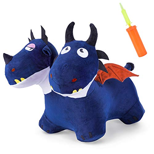 iPlay, iLearn Bouncy Pals Blue Bouncy Horse Hopper Toy, Plush Cover Two Headed Hopping Dragon, Inflatable Ride on Animal, Indoor Outdoor Jump Gift for 18 24 Month 2 3 4 Year Olds Boy Kid Toddler Girl
