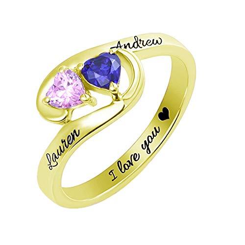Coudf Anillo con Nombre Personalizado con 2 Piedras de Nacimiento Anillo de Aniversario de Navidad de Plata esterlina para Mujer(Oro 19)