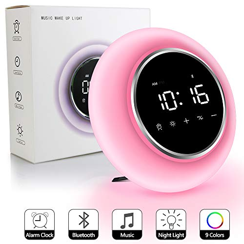 KZY Wake Up Light Alarm Clock, Night Light Bluetooth Speakers, Kids Sleep Aid Snooze Function 9 Colors Clock for Bedrooms Teen