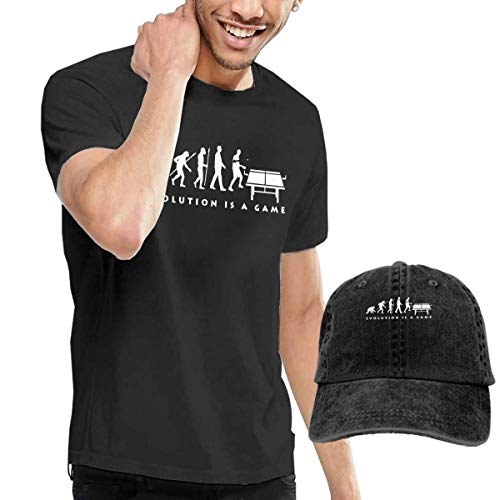 AYYUCY Camisetas y Tops Hombre Polos y Camisas, Novelty Men's Table Tennis Evolution T-Shirt and Hats Black
