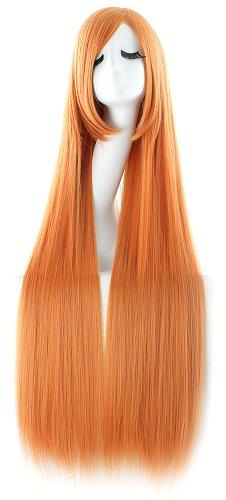 MapofBeauty 100cm/ 39 pulgada medio lacio seorita lacio anime traje Pelucas (naranja)