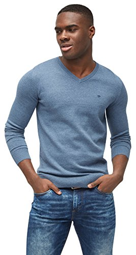 TOM TAILOR Herren Basic V-Neck Pullover, Blau (Bleached Blue Melange 6495), Medium