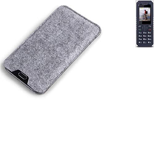 K-S-Trade Filz Schutz Hülle für bea-fon AL250 Schutzhülle Filztasche Filz Tasche Case Sleeve Handyhülle Filzhülle grau