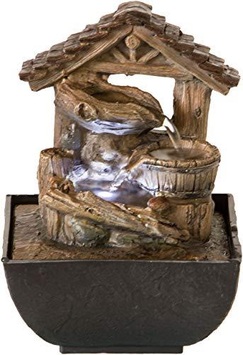 Nativ Zimmerbrunnen mit LED-Beleuchtung, Motiv-Brunnen beleuchtet, Indoor-Brunnen aus Polyresin mit Pumpe und Beleuchtung, 13,3 x 13,3 x 17,5 cm, Holzoptik