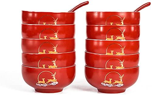 Juego de platos, Combinación de vajillas 10 Conjuntos de cuencos rojos para recién casados, cajas de regalo para suministros de boda o uso diario en el hogar para recién casados, recién casados, amigo