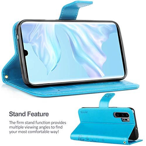 iDoer Hülle Kompatibel Mit Huawei P30 Pro/Huawei P30 Pro New Edition/Huawei P30 Pro 2020 Schmetterling Leder Case Schutzhülle Blau