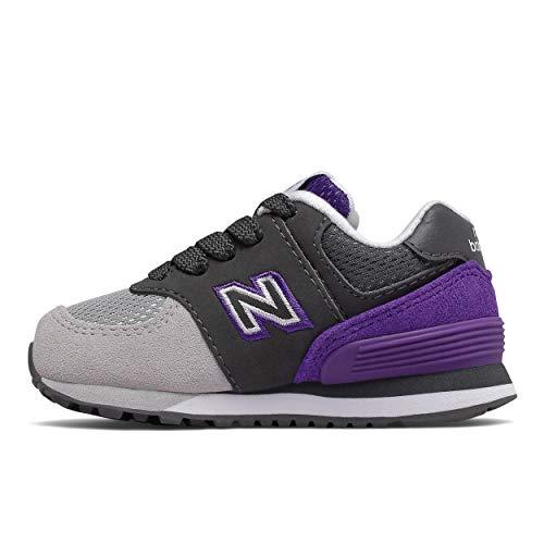 New Balance 574v1 Kinder-Sneaker zum Schnüren, Grau (Magnet/Prisma Pu), 34 EU