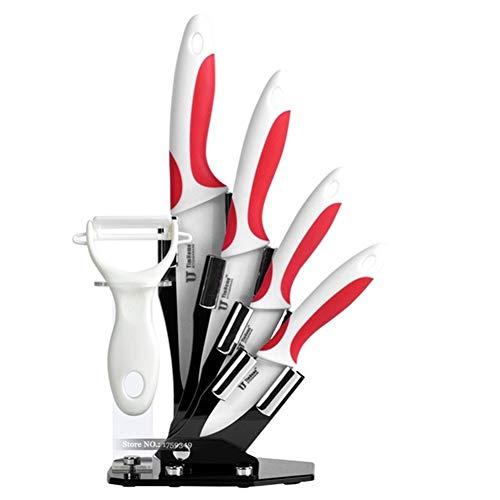 Cuchillo de chef Cuchillo de cerámica de la cocina del cuchillo de zirconia cuchillo de pelado de la fruta de alta calidad cuchillos del cocinero de cocina de corte de la carne (Color : Red)