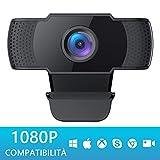 COOAU Webcam 1080P FHD con NOVATEK Chip Noise-Reducing Microfono, PC Portatile Laptop Desktop USB Videocamera, Streaming Camera per Videochiamate Conferenza Gioca a Giochi